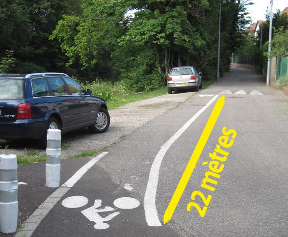 22 mètres de bonheur avant d'affronter la route de la Wantzenau, sans la moindre piste cyclable