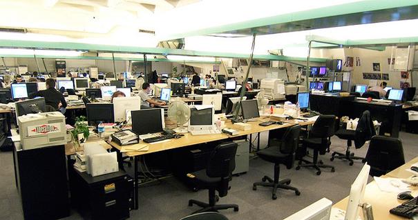 La salle de rédaction de Libération : Photo Luc Legay - libération ©Flickr CC