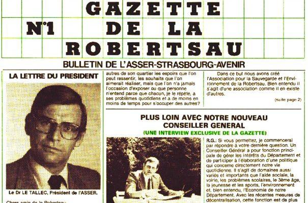 [Document] Le premier numéro de la Gazette de la Robertsau… en 1982 !
