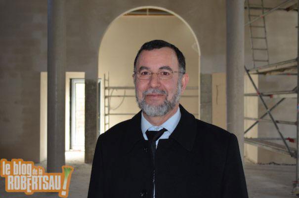 Chaïb Choukri pendant les travaux de la Mosquée de la Robertsau