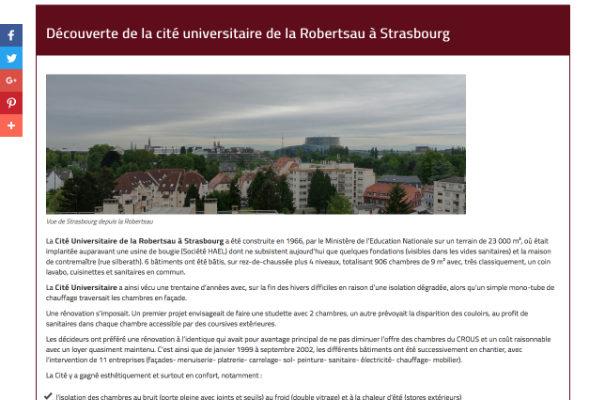 [Vigie du Web] : La cité universitaire sur le site Argentoratum