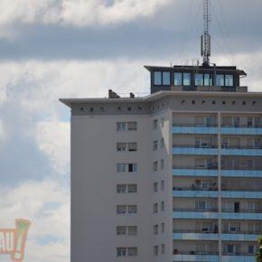 Un des ascenseurs de la tour Schwab en panne