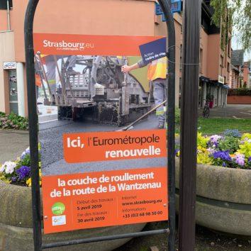 Travaux au croisement de la route de la Wantzenau - rue de l'Ill jusqu'au 30 avril 2019