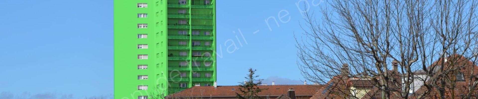 [Poisson] Habitation Moderne et la ville de Strasbourg envisagent de peindre la tour Schwab en vert