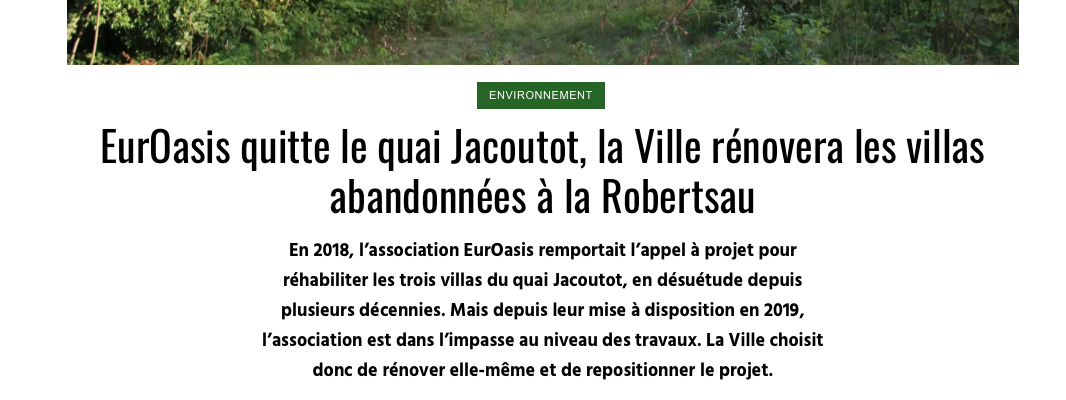 Fin de l'aventure pour EurOasis, la ville de Strasbourg reprend la main